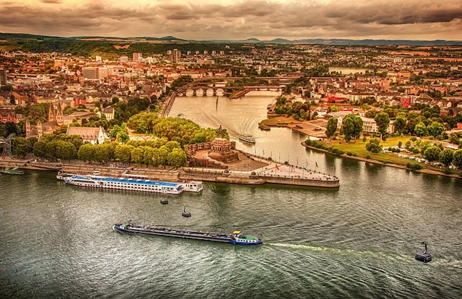 City of Koblenz along the Rhine in Germany