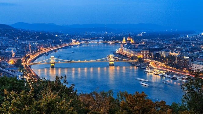 The Danube river flowing through Budapest