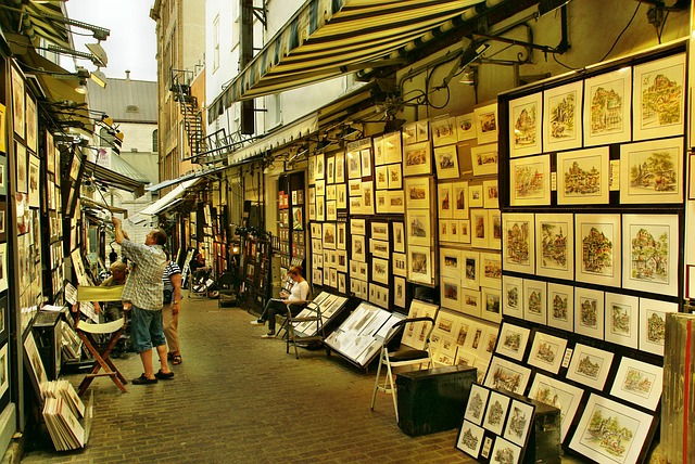 Open-air art gallery along Rue du Trésor